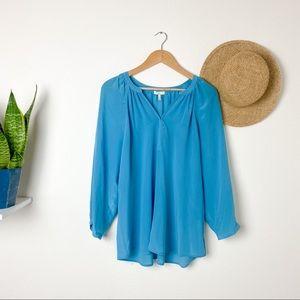 Joie Blue Silk Long Sleeve Blouse